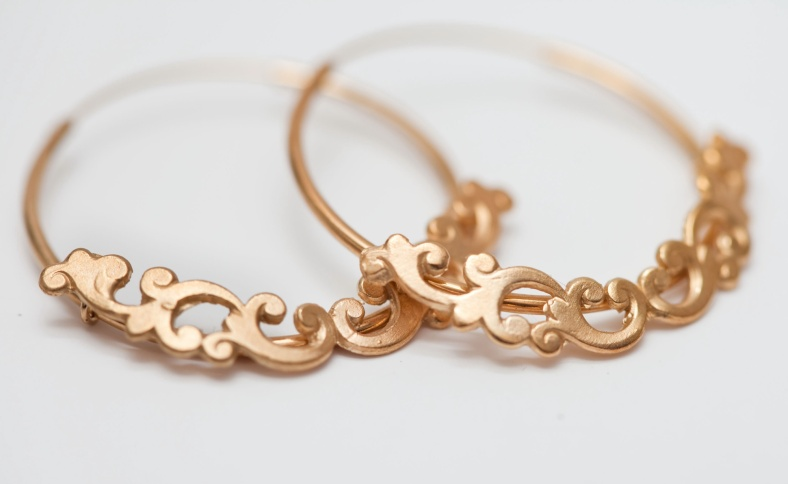 Gold filigree hoops - Emily Margaret Hill