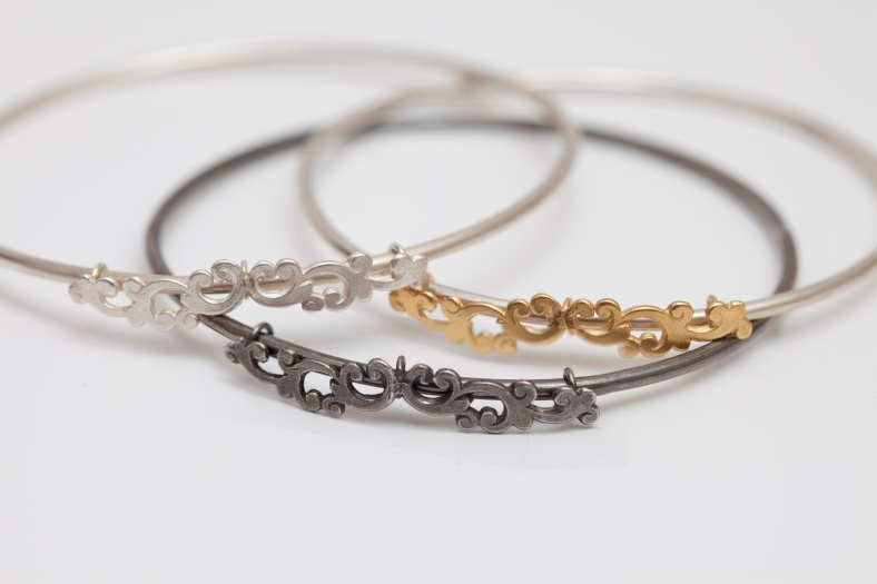 Silver filigree stacking bangles - Emily Margaret Hill