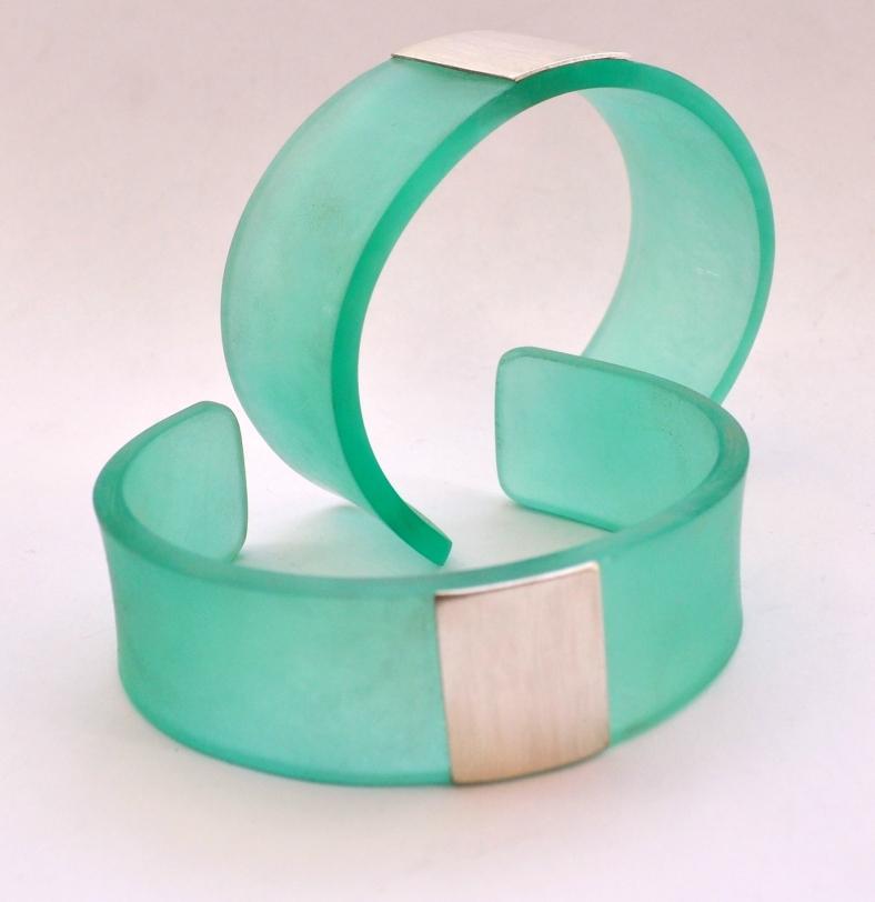 Aqua perspex and silver cuffs