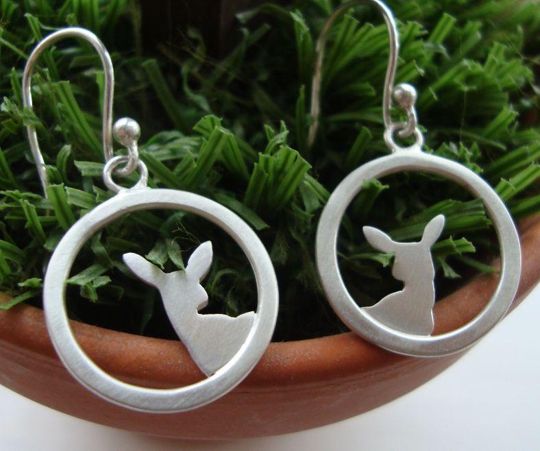 Silver fawn earrings