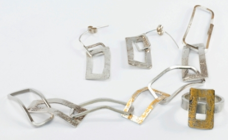 Silver and gold leaf frame bracelet ring and earrings
