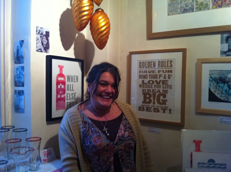 Baubles and Makers - Jacqui Sharples with her letterpress framed work