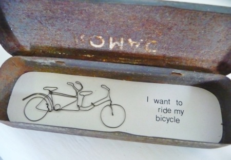 I Want To ride My Bicycle wire work in vintage tin