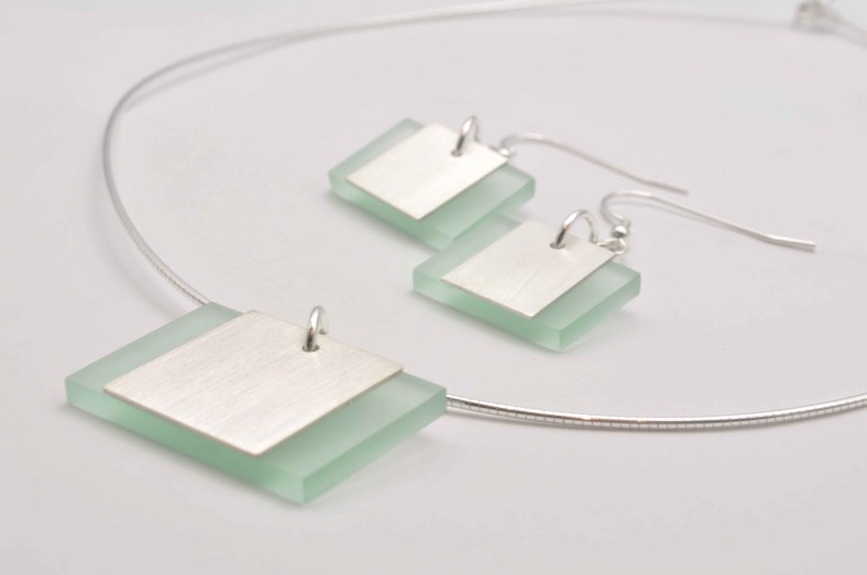 Perspex silver rectangle pendant and earrings