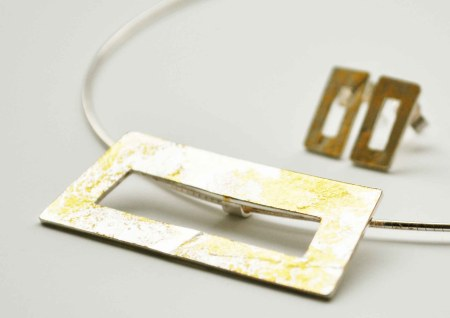 Silver rollered frame with gold leaf pendant and earrings