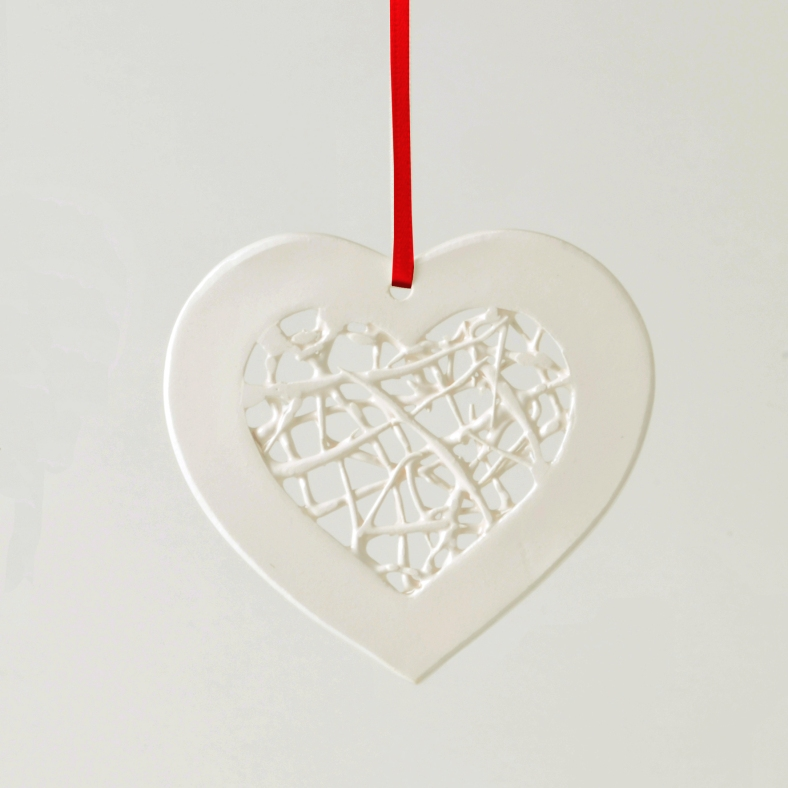 Tangled heart hanging ornament on red ribbon