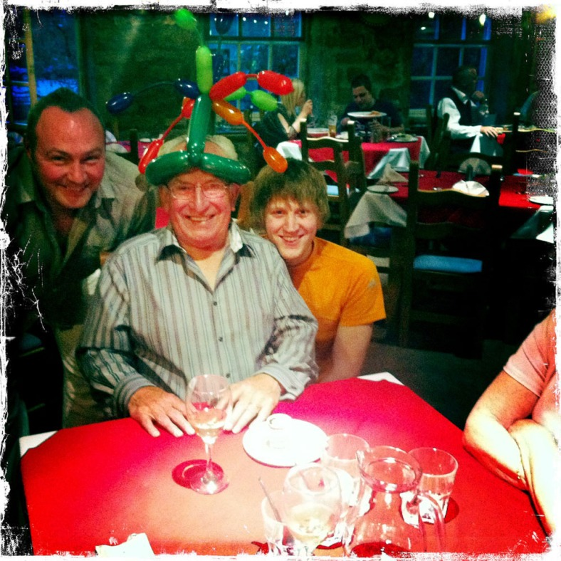 Dad's another year older but no wiser - he loves those silly hats!