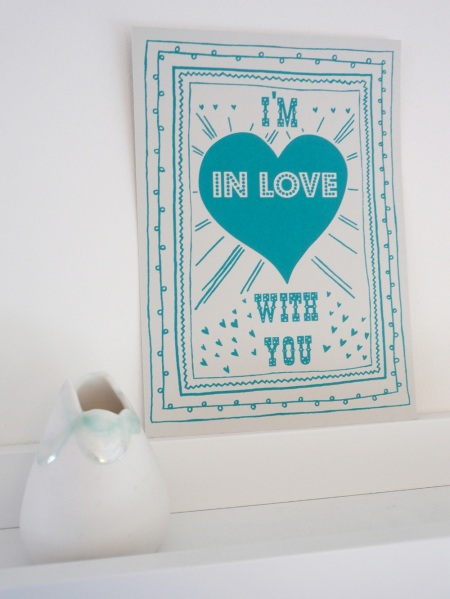 I'm In Love With You limited edition A5 screenprint comes in a selection of colours