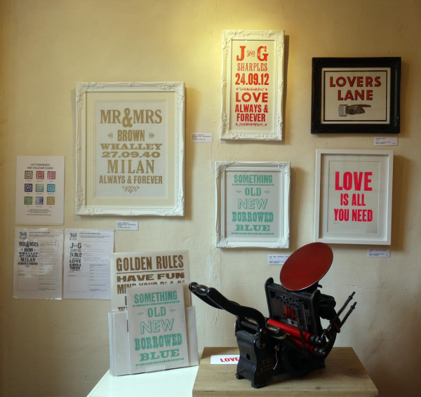 A selection of Jacqui's current letterpress pieces available at Heart including your bespoke Mr & Mrs suggestions