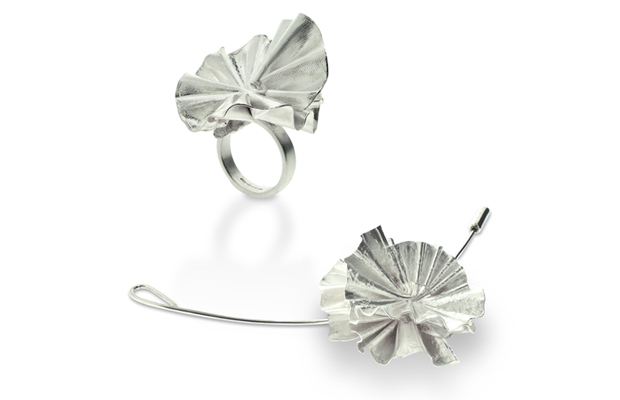 Sculptured rosette ring and lapel pin