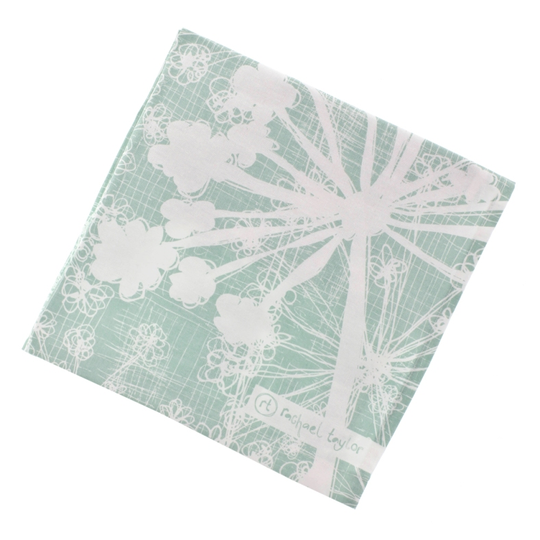Rachael's much loved cow parsley design tea towel in sea green