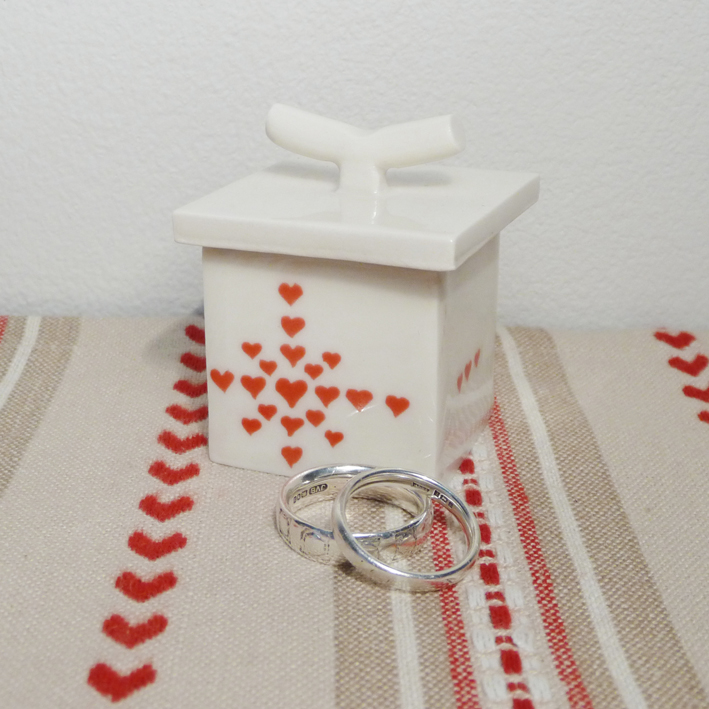 Sue Candy, local ceramicist, has made us a cute heart range which includes this ring box.