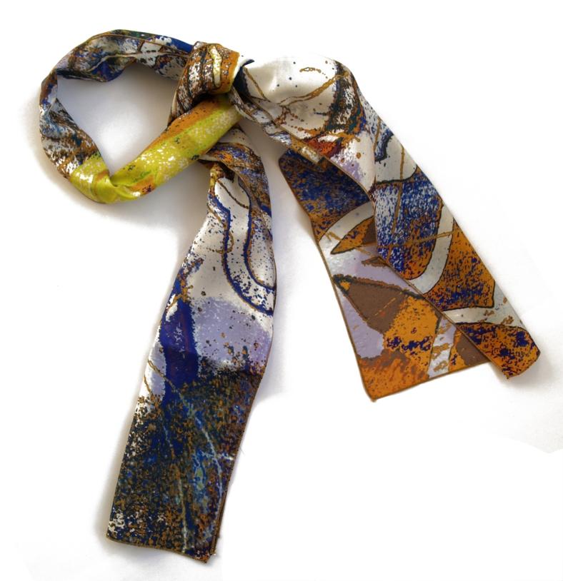 Graffiti silk skinny scarf