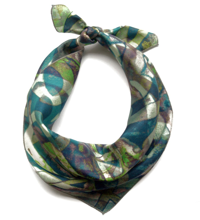 Tied silk square scarf