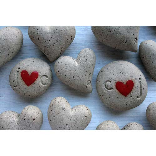 You can personalise Jo's pebbles with initials which are great for wedding favours