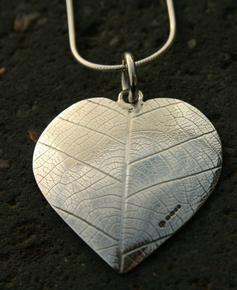 Silver textured heart necklace