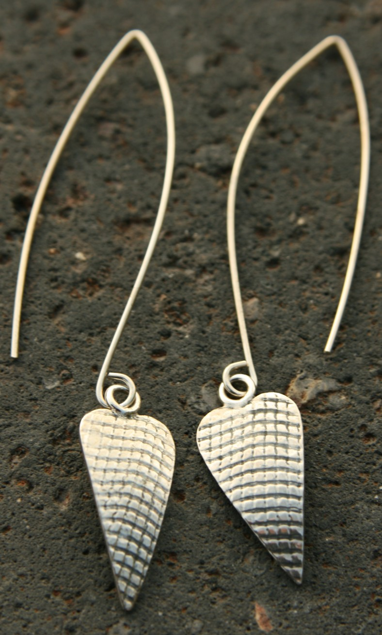 Silver textured heart drops on long wires