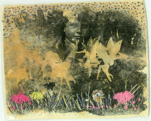 Fairies series - Martyne Raven mixed media with stitch