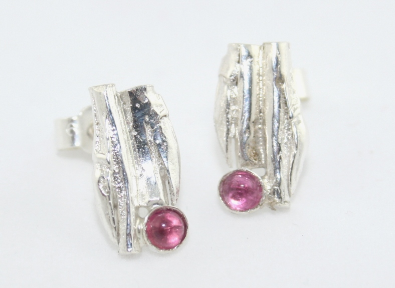 Cast willow and tourmaline studs