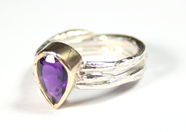 Double cast willow ring with large pear amethyst rubover