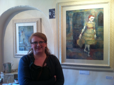 Mixed media artist Gillian Lee Smith with her 'dreamy' original paintings on display