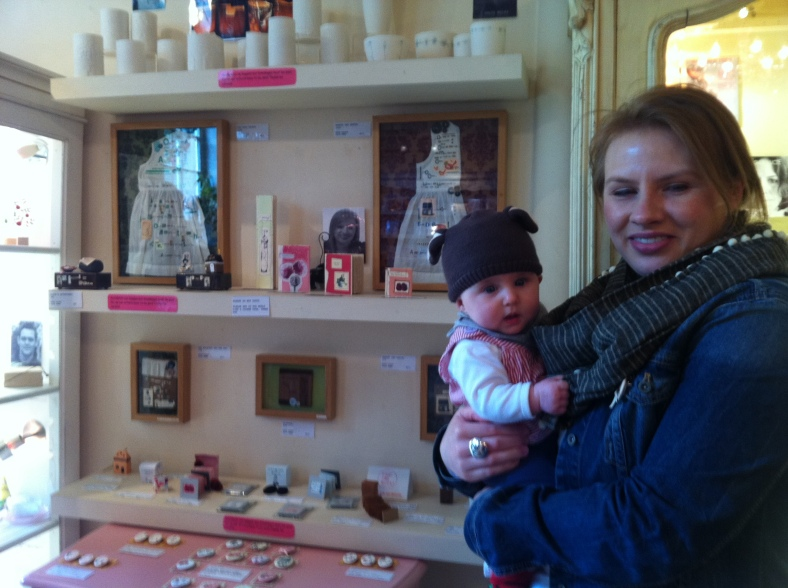 Alix Swan, designer/maker, with her beautiful daughter and her stunning work in Heart Gallery