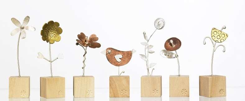 In the Garden collection, Silver, Copper and Brass sculptures with hand stamped decoration