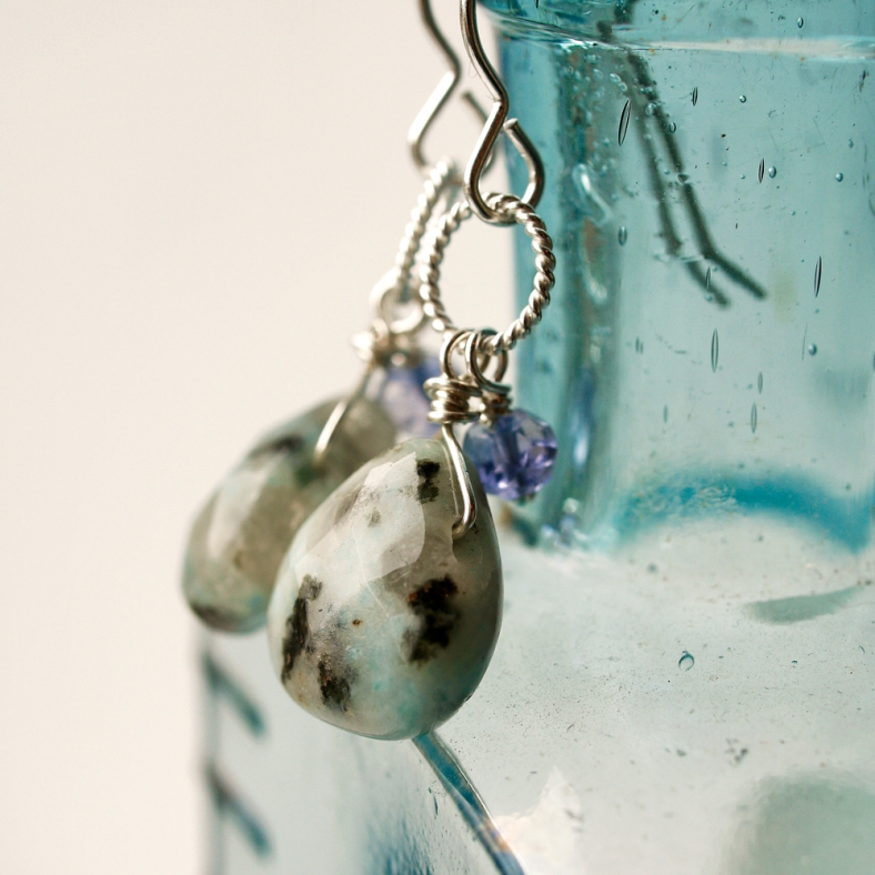 Jasper and iolite silver earrings