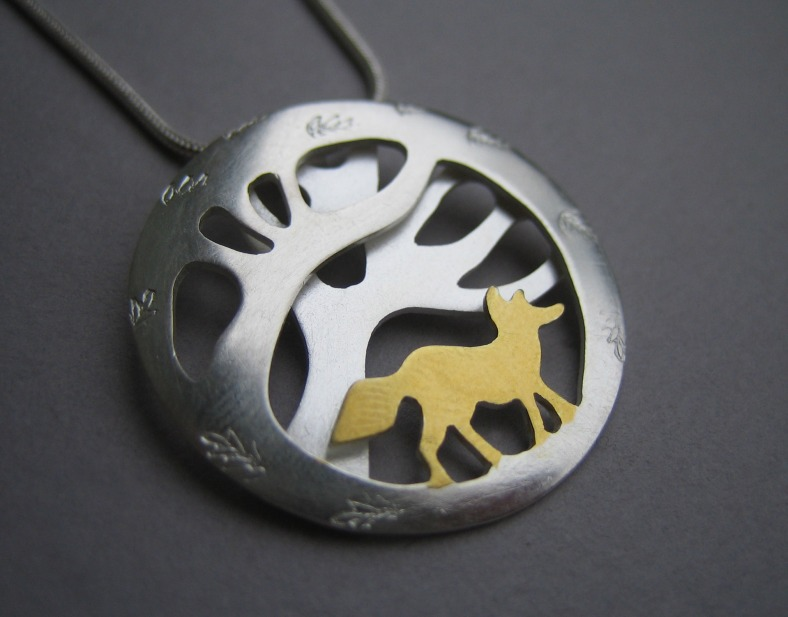 Lucy Palmer - Golden Wandering Fox silver and Keum Boo necklace