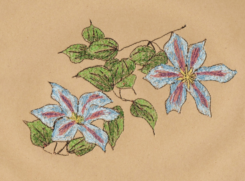 clematis embroidery - Sarah Dodd