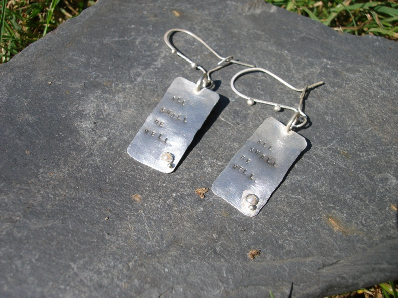 Affirmation tag earrings