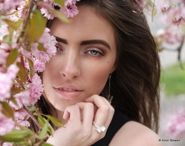 Model wearing Alice Stewart jewellery