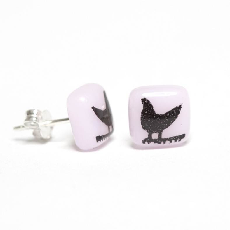Black on Pink Bird Earrings