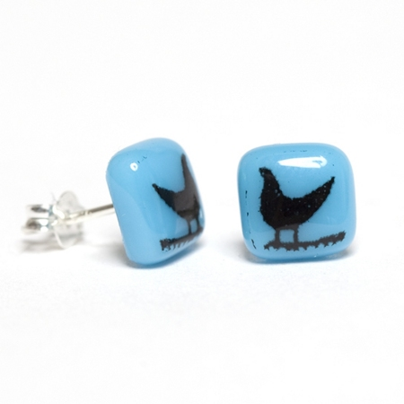 Black onTurquoise Bird Earrings