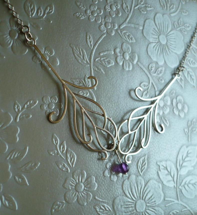 Double Feather Necklace - silver and iolite