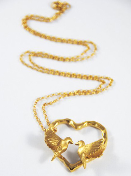 Bird Heart Necklace - 18ct gold plated silver