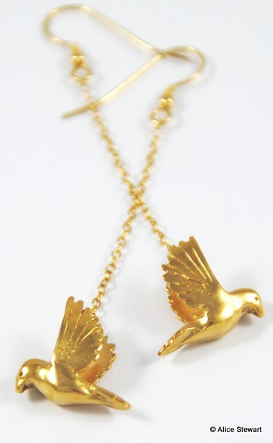 Long Bird Earrings - 22ct gold plated silver