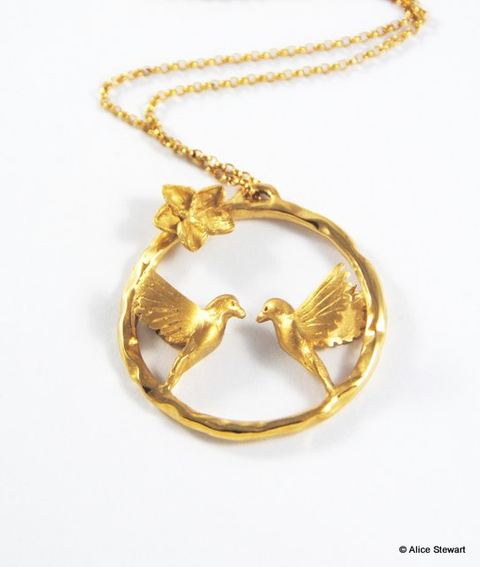 Love Bird Necklace - 22ct gold plated silver