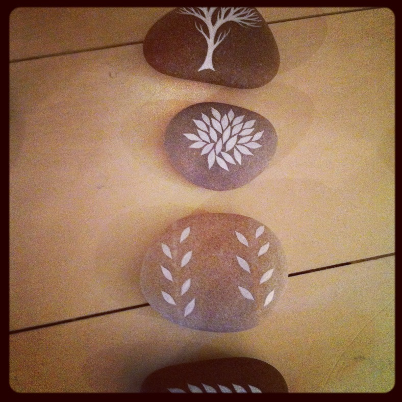 Nature Set of 4 hand painted pebbles
