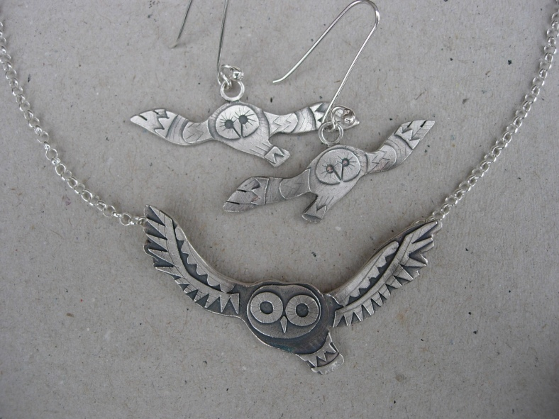 Large Tawny Owl Necklace and Tawny Owl Earrings
