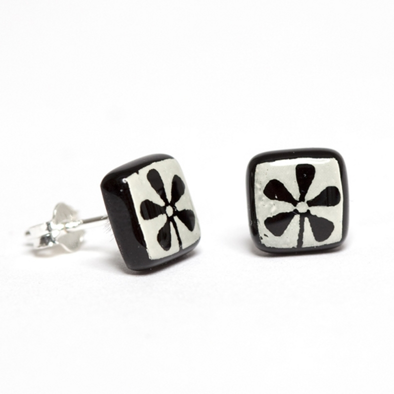 White on Black Flower Earrings