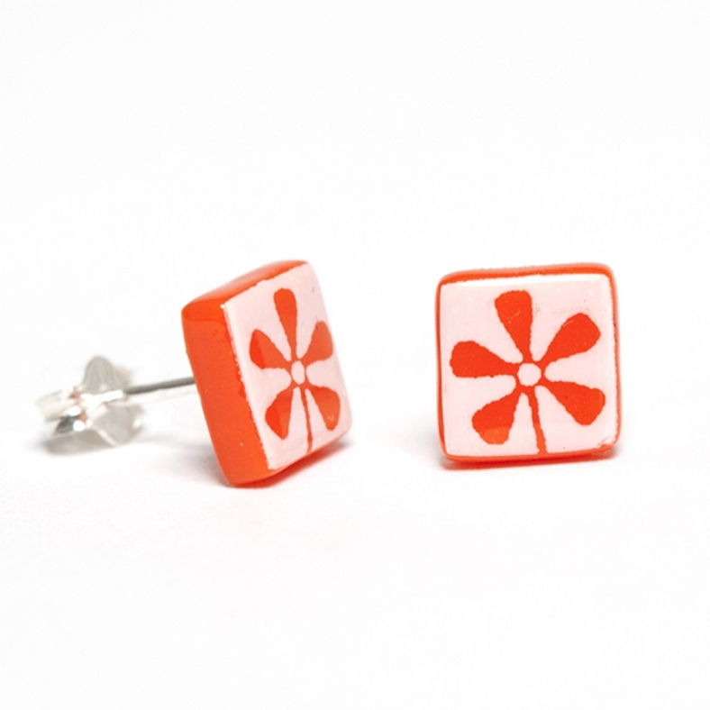 White on Orange Flower Earrings