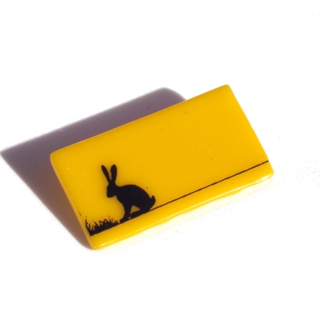 Yellow Black Hare Brooch