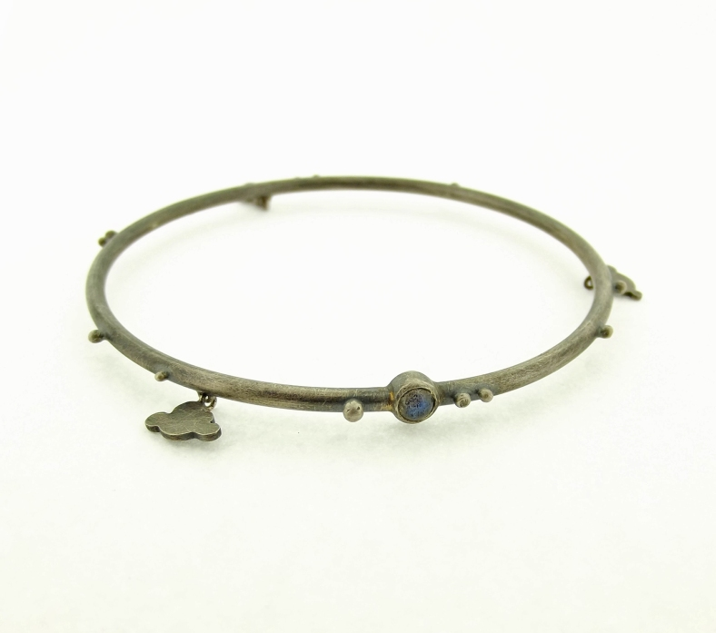 Oxidised silver cloud bangle