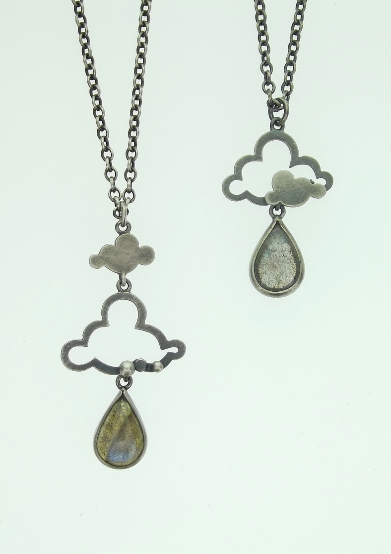 Oxidised silver and Labradorite cloud pendants