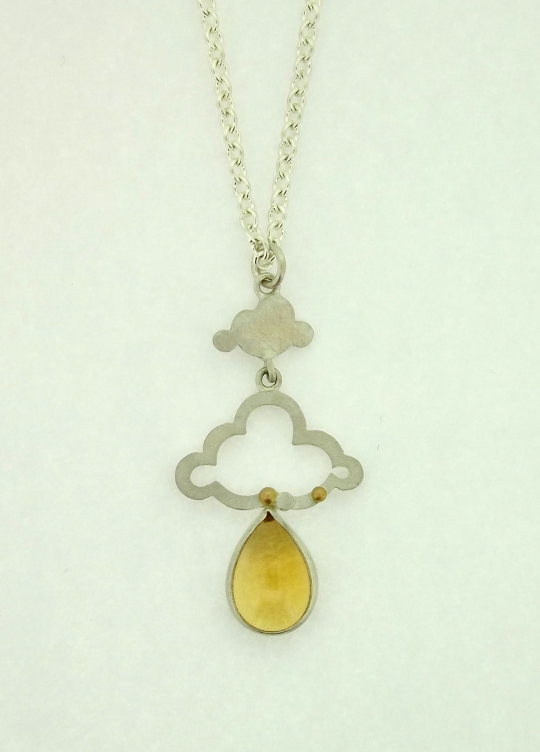 Silver, 18ct yellow gold and Citrine cloud pendant