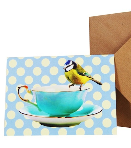 Blue teacup card with matching wrapping paper