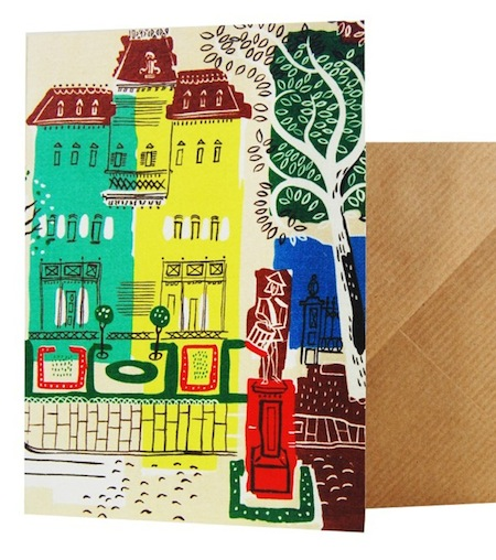 Houses card with matching wrapping paper