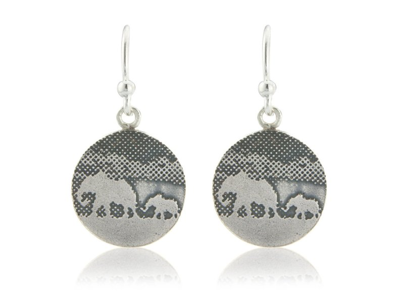 Mother & baby elephant earrings