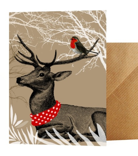 Stag and robin card with matching wrapping paper